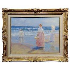 Gregory Harris -Women walking along the beach w/Parasol-Oil painting