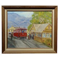 Wilfrid T. Mills-Los Angels Trolley Car at Sierra Madre Station -Oil painting