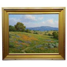 David Chapple -Poppy Fields in Gorgeous California Landscape-Oil Painting