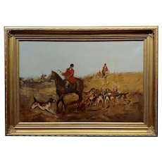 Alfred Munning Attributed Study of a Fox Hunt Scene - 1920s Oil painting