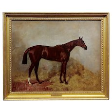 Harry Hall 19th century portrait of Winkfield Race Horse Winner-Oil painting