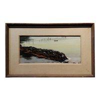 Stephen Morgan Etnier - Maine Costal Scene at Sunset -Oil painting