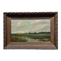 Arthur Hoeber -19th century Cape Cod Marsh Landscape at Twiligh-OIl painting