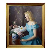 Marguerite Stuber Pearson -Woman in Blue arranging her white Roses-Oil Painting