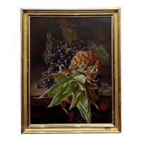 19th century Flemish School-Still Life of black Grapes & Pineaple-Oil Painting