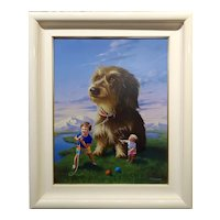 Jim Warren -Young Brothers dealing with giant Terrier- Surreal oil painting
