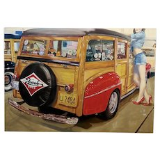 Ralph Massey -1948 Ford Woody Wagon in Hawaii - Oil Painting