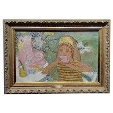 Helene Girod De L'Ain -Girl having Breakfast in the Garden -Oil painting