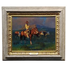 Dan Mieduch -Cowboy at an early Western Sunrise -Oil Painting