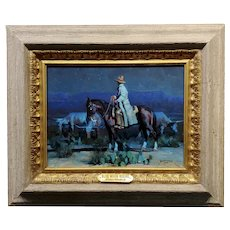 Dan Mieduch -Blue Moonlight Cowboy -Oil Painting