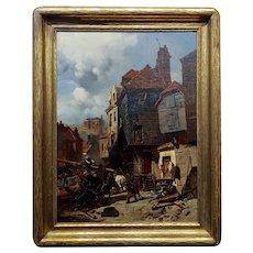 Charles Hoguet 1860 Distressed Parisian Neighborhood Scene-Oil Painting