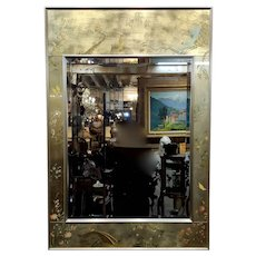 La Barge Mid-Century Modern Hand Painted Chinoiserie Mirror