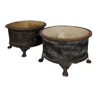 19th century French Cast Iron Garden Planters w/claw feet -a Pair