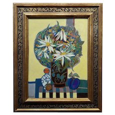 Françoise Gilot -Still life with Daisies & Plum -OIl painting