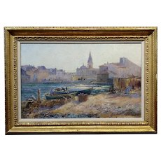 Julian Gustave Gagliardini -Fishermen on a Costal Town landscape-Oil painting c.1895s