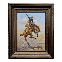 Walt LaRue - Bucking Horse & the Cowboy Rider -Oil Painting