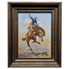 Walt LaRue - Bucking Horse & the Cowboy Rider -Oil Painting