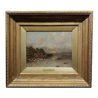 Karl Heffner -Feeding Geese by the Marshes at Sunset-19th century Oil Painting