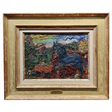 David Burliuk -Peasant with the Blue Horse -Oil painting