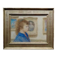 Andre (Gittelson) Gisson -Portrait of a Girl w/ Blue Eyes in a Gallery-Oil Painting