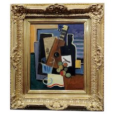 Claude Lacaze -Cubist Still life of Wine,Olive & Guitar -Oil Painting