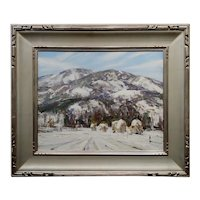 Jay Hall Connaway -1930s Snow in Vermont Haystack Mountain-Oil Painting