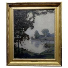 Edmund Wuerpel -Mystic Moonlight over the Lake-1920s American Tonalist Oil Painting