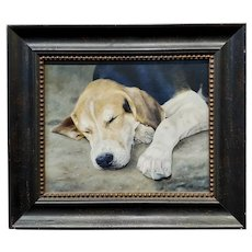 Anita Baarns - Cute Fox Hound Puppy Dog sleeping -Oil Painting