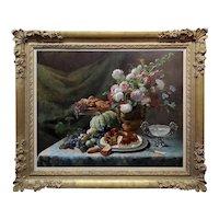 Frans Mortelmans -Still life of Pink & White Roses,Fruits & Desert-19th c. Oil painting