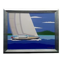 Dennis Conner - Sail Boat in the San Francisco Bay -Oil Painting