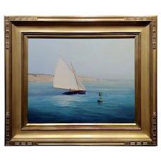 Arnold Desmarais -Sail Boat turning around a Buoy near Cape Cod-Oil Painting