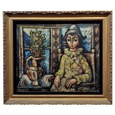 Enrico Campagnola- Portrait of Harlequin sitting by the Window- Oil Painting