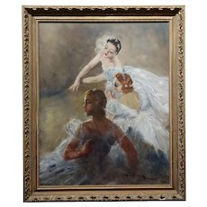 Pal Fried - Three Ballerina in White on Stage -Oil Painting