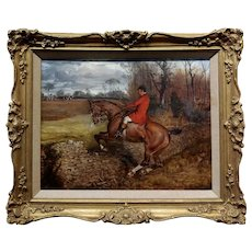 Gentlemen in Redcoat on Horse Jumping countryside Fence-19th century Painting