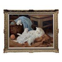 Arthur Heyer -Angora Cat w/Her four White Kittens -Oil painting c.1900s
