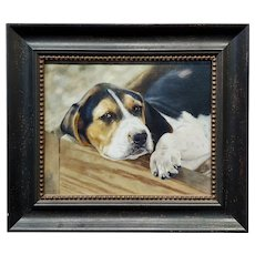 Anita Baarns - Cute Foxhound Puppy Relaxing  -Oil Painting