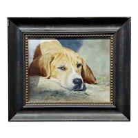 Anita Baarns - Cute Foxhound Puppy Dozing off - Oil Painting