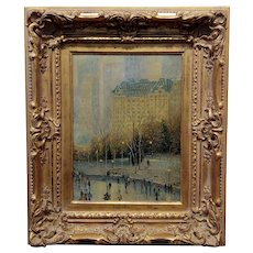 G. Rose 1950s Wollman Rink in Central Park New York City-Oil Painting