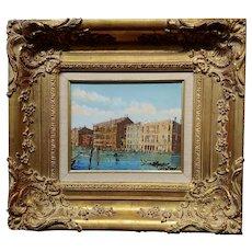 1950s Venezia pittoresche Canal Scene -Oil Painting