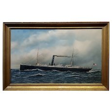 Antonio Jacobsen -American Steamer Cienfuegos crossing the Ocean-Oil Painting