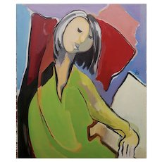 Fay Singer - Woman in Green reading -Oil painting