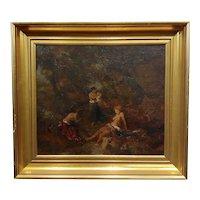 Albert Spethmann - Women bathing in a dark Forest-Oil painting