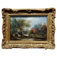 Joseph Thors - Country Side Cottage - 19th century Oil Painting