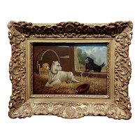 Vincent De Vos -Three Dogs considering Freedom -19th century Oil painting