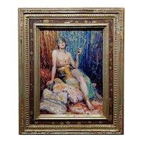 Glenn Crawford Sheffer -1924 Sexy Movie Star playing Delilah -Oil painting