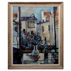 Robert Aaron Frame -Bottle of Wine & Flowers by an open Window -Oil painting