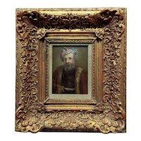 Dutch School -Ottoman Sultan wearing a Turban -17th century Oil painting