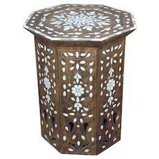 Syrian Vintage Inlaid Octagon Taburet Side Table