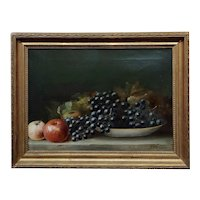 Simon Peter Shafer -Still life of Apple & Black Grapes- 19th century Oil painting