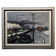 Regis de Bouvier de Cachard -Surreal Port of Dieppe in Normandy- Oil painting